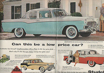 """1956 Studebaker Car Ad -""""Commander"""" ---2 page centerfold  ---123"""
