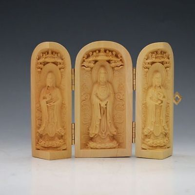 Decorated 100% Boxwood Highly Difficulty Carved Kuan Yin Statue Folding Box