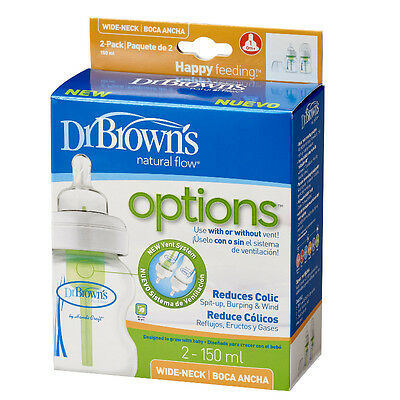 Dr Brown's Options 150ml Anti Colic Wide Neck Baby Bottle Twin Pack Dr Browns