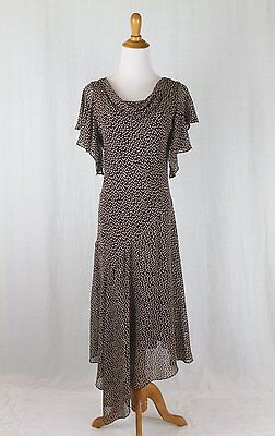 ADRIANNA PAPELL Long Silk Chiffon 1920's Style Flapper Gatsby Deco Dress Gown 6