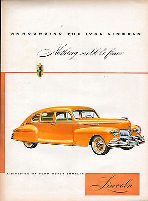 1946 Lincoln Car Ad --Announcing the New 1946 Lincoln---x326