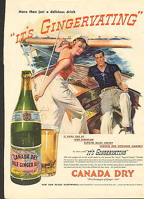 """1937 Canada Dry  ad """"Gingervating""""-/917"""