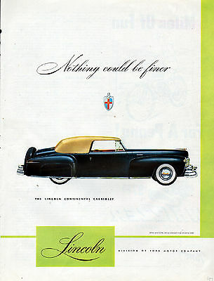 1947 Lincoln Car Ad --Lincoln Continenal Cabriolet--x329