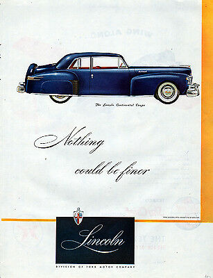 1946 Lincoln Car Ad --Lincoln Continenal Coupe --x328