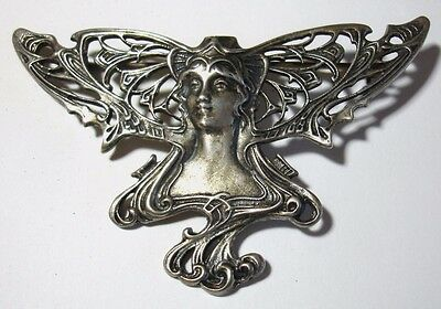 Sterling Silver Art Nouveau Brooch Pin Winged Lady Butterfly Vintage .925