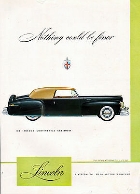 1947 Lincoln Car Ad --Lincoln Continenal Cabriolet --Nothing Finer -x331