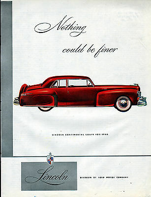 1946 Lincoln Car Ad --Continenal Coupe --x327
