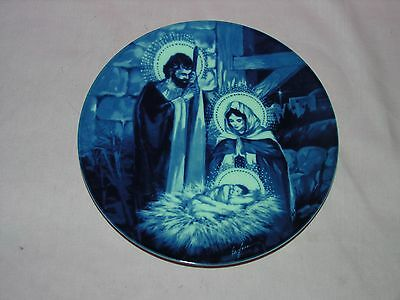 Vintage 1991 Avon Collector Plate THE HOLY FAMILY Flow Blue Style