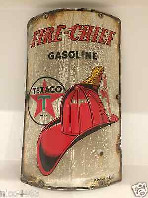 1940  Porcelain  Curved Fire Chief Texaco Gas Oil Advertising Sign Pump Plate