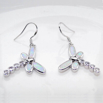 White Gold Plated Fire White Opal Dragonfly Drop Dangle Earrings Fashion Jewelry