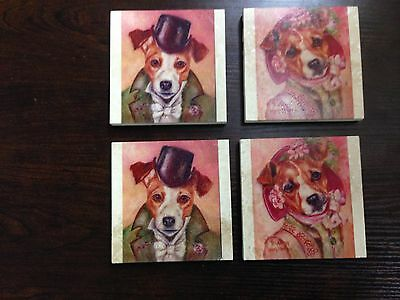 Set of 4 Jack Russell Terrier Marble Coasters