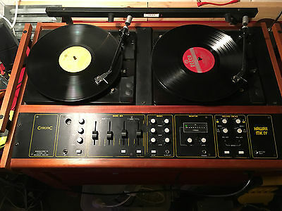 Citronic Hawaii Mk 4 Dj Record Players X2 + Mixer In Retro Wood Case! Can Post