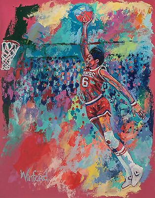 70% Sale, Julius Erving 14 X 11 Canvas & 2 Prints Signed By Painter Winford