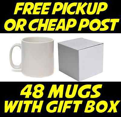 A1 Dye Sublimation Mugs 48 Glossy Coffee White with Gift Boxes PRINTS NICE 11OZ