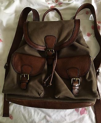 ◼️Fossil Unisex Camo Heavy Canvas & Brown Leather Tough Backpack Bag Like New◼️
