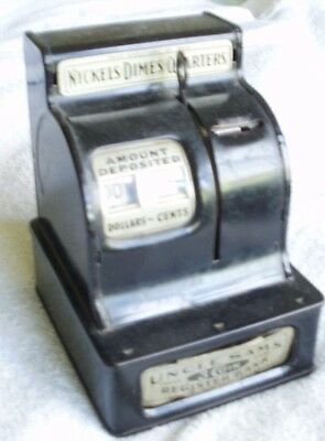 Vintage (1940s) UNCLE SAM'S 3-COIN REGISTER BANK, working condition!
