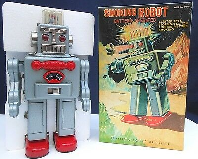 SCHYLLING COLLECTORS SERIES SMOKING TIN ROBOT, Battery Operated - MIB