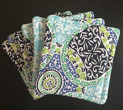 Set of 6 Reversible Absorbent Fabric Coasters Blue Green Turquoise Geo New