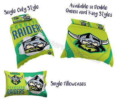 Canberra Raiders 2017 AFL Quilt Cover Doona Single Double Queen King Pillowcase