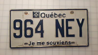 Quebec license plate plaque auto mmatriculation souvenir 964 NEY