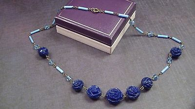 Deco Era Czech Signed Glass Bead Necklace, Carved Blue Rosettes, Tube Beads