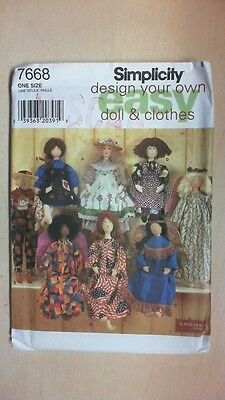 Simplicity Easy Doll and Clothes 7668 - UNCUT FREE SHIPPING