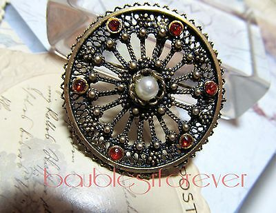 VtG Jerusalem Sterling Silver Cannetille Red Glass Stone Faux Pearl Pin Pendant