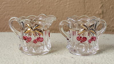 MOSSER GLASS crystal with cherry's, cream & sugar