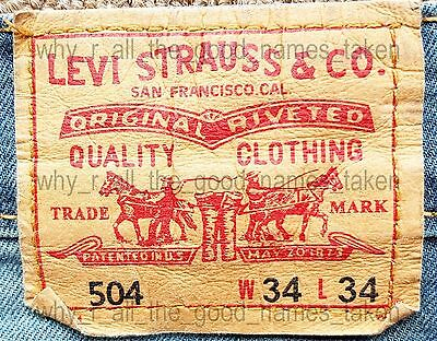 LEVI STRAUSS Original 504 Straight Fit LEVI'S JEANS W34 L34 Pre-Owned & Faded