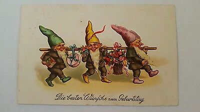 Birthday Greetings postcard of Gnomes Elves with Presents