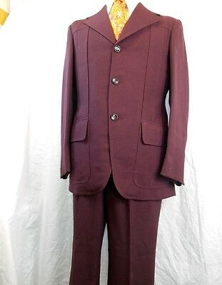 Vintage 1960s 70s Peter Shearer Maroon Pure Wool 2-Piece Suit 36 Chest 30W Small