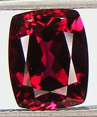 4.00CT. EXCELLENT CUT CUSHION 10x8 MM. PIGEON BLOOD RED RUBY LAB CORUNDUM