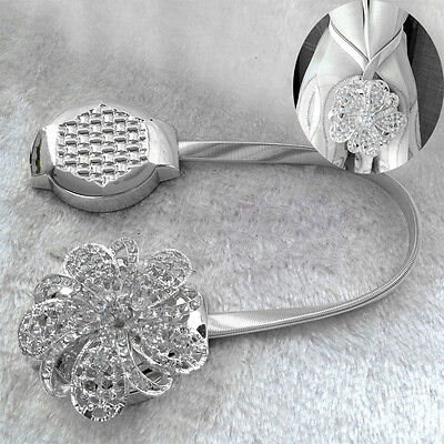 Magnetic Crystal Flower Curtain Tiebacks Tie Backs Buckle Clips Holdbacks Decors