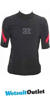 Billabong 1mm Punch Short Sleeve Neo Top in BLACK/RED G4EQ07