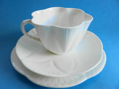 Vintage Shelley Dainty White Trio Tea Cup Saucer Plate Like New