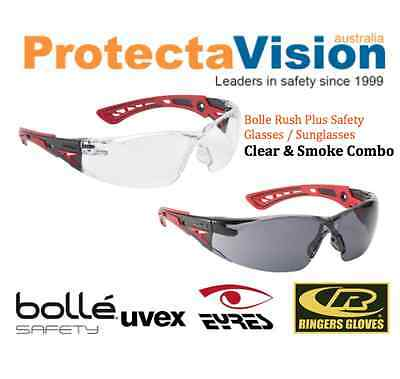 2 Pairs Brand New Bolle Rush Plus Clear + Smoke Combo Safety Glasses/Sunglasses