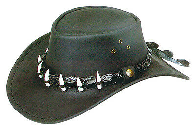 Oil Wax Leather hat with crocodile  Band and  7teeth 586cm Medium with chinstrap