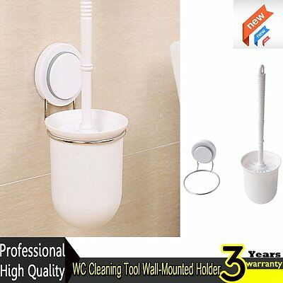 Bathroom WC Cleaning Tool Wall-Mounted Stainless Steel Holder Toilet Brush Set