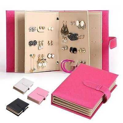 Jewelry Case Of Earrings Ear Studs Leather Book Storage Display Organiser Hold