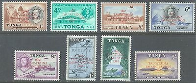 TONGA 1962 Centenary of Emancipation Set to 5/- (8) MLH
