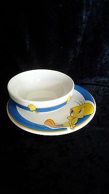 Looney Tunes Tweety Plate and Bowl by Gibson 1998