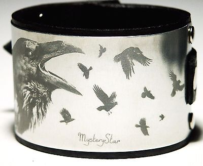 Black Leather Crow Cuff Wristband Bracelet Gothic Steampunk Metal Aluminium