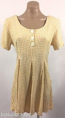 VINTAGE pale mustard white GINGHAM CHECK crinkle RAYON shorts PLAYSUIT romper 10