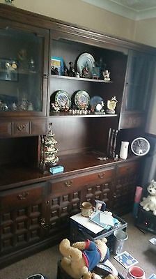YOUNGER Toledo Solid Dark Oak Spanish / Mexican Style Sideboard Cabinet