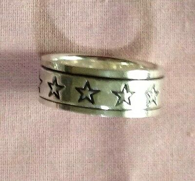 Spinner Stars Solid Silver .925 Hallmarked Ring Unisex Womens Mens