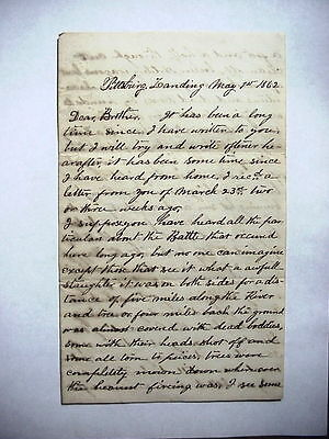 CIVIL WAR LETTER by  A. J. TUTHILL PA. VOL.  about the Slaughter at SHILOH 1862