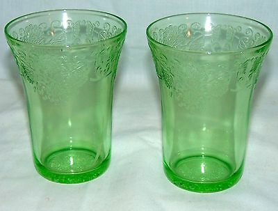 "2 Hazel Atlas FLORENTINE #2 GREEN* 4"" - 9 OZ WATER TUMBLERS*"