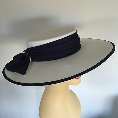 Ladies Occasion Wedding Races Mother Bride Hat White Navy by Whiteley