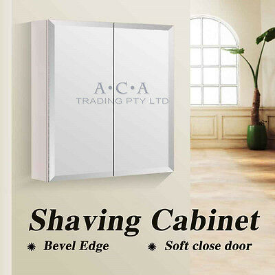 600 x 720x150mm Bevel Edge Mirror Bathroom Vanity Medicine Shaving White Cabinet