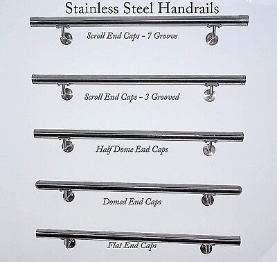 Stainless Steel Handrail  Grab rail with Dome End Caps. Stair handrail